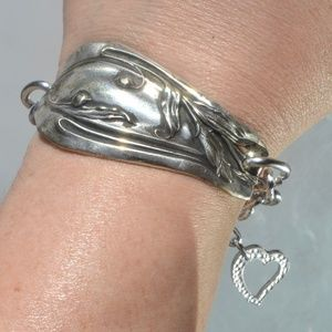 Victorian Silver Upcycle Cuff Bracelet Link Chain